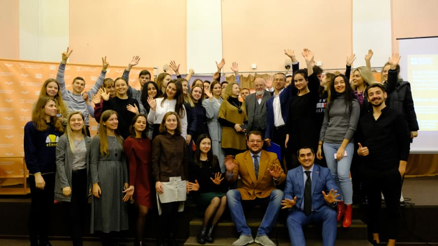 Students and staff from Taras Shevchenko National University in Kyiv celebrate their new partnership project with Northumbria University