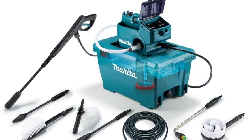 Makita lanserar batteridriven högtryckstvätt med praktisk vattentank