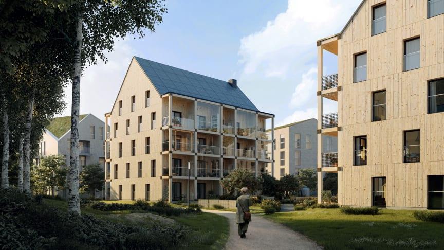 ETC:s två nya hyreshus på Öster Mälarstrand. Illustration: Kjellgren Kaminsky