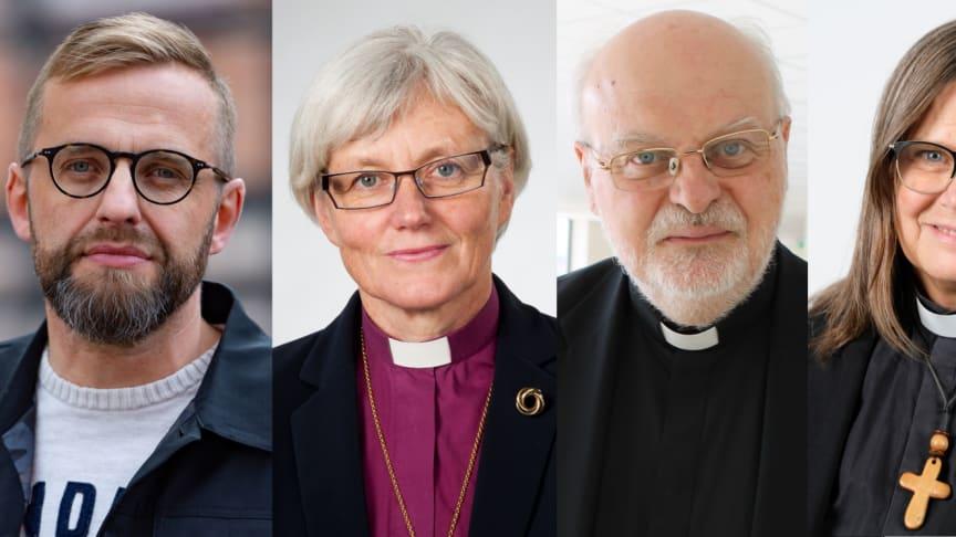 Kyrkoledare skriver brev till riksdagen: Daniel Alm, Antje Jackelén, Anders Arborelius, Karin Wiborn och Benjamin Dioscoros Atas.