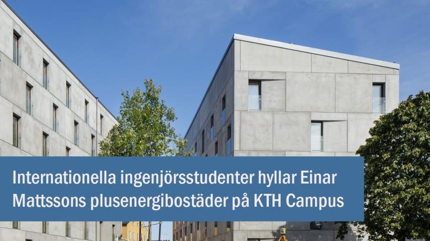 Internationella ingenjörsstudenter hyllar plusenergibostäderna på KTH Campus