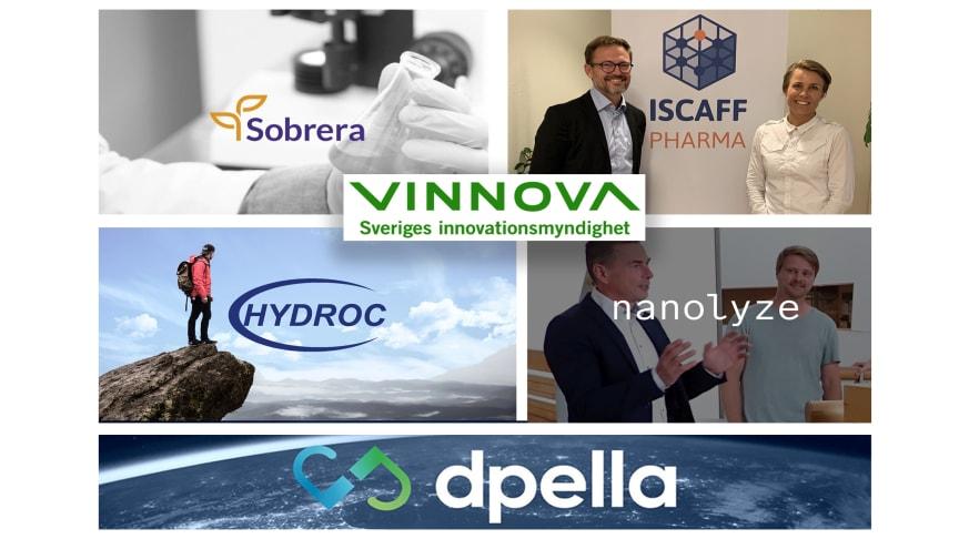 """Fem startups i GU Ventures inkubator får betydelsefullt """"Innovativa startups""""-bidrag från Vinnova"""