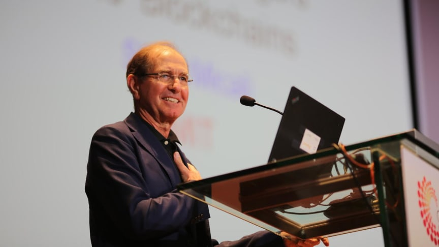 Professor Silvio Micali delivering his lecture at the Global Young Scientists Summit 2019. Photo Credit: National Research Foundation Singapore