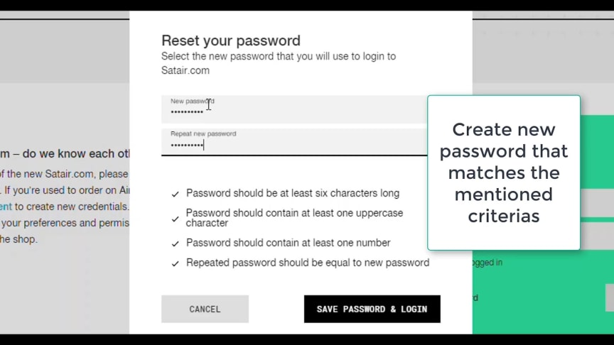 Satair Market - How to reset password