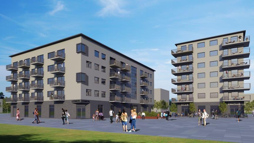 Planerad bebyggelse på fastigheterna Oxievång 7 (t v) och Oxievång 2 (t h). Illustration: Sews Arkitekter / Brinova