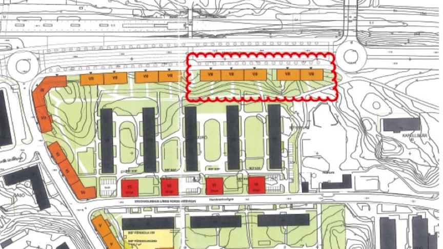 Riksbyggens kommande byggnation markerad med rött.