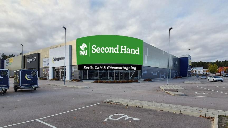 Innan sommaren 2021 kommer PMU Second Hand i Västerås att öppna sina portar. Butiken ska drivas i samarbete mellan PMU och Pingst Västerås. Bilden är en första skiss på hur entrén kan komma att se ut till den stora secondhand-butiken på 4 400 kvm.