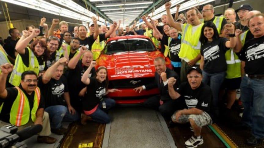 Produksjonsstart for nye Ford Mustang til verdensomspennende salg