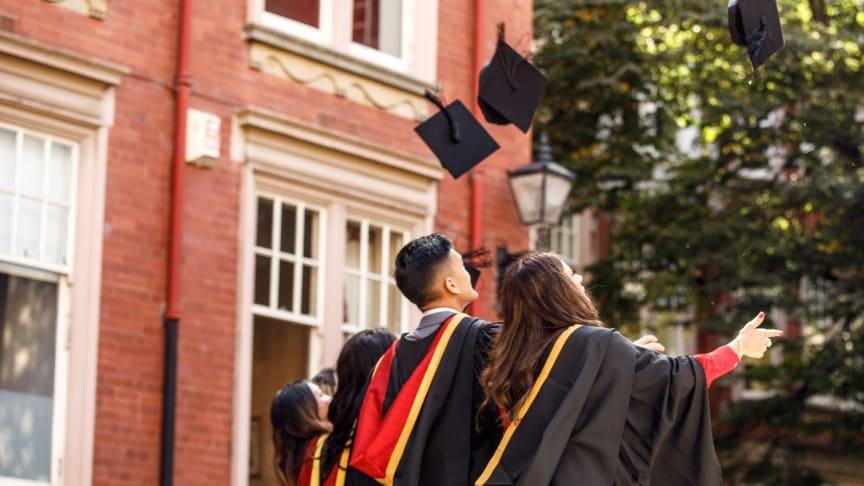 Students celebrate during Northumbria University's graduation ceremonies