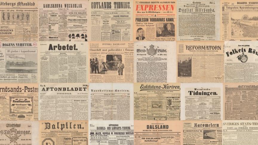 KB:s söktjänst Svenska dagstidningar innehåller miljontals sidor som är fria för alla att utforska.