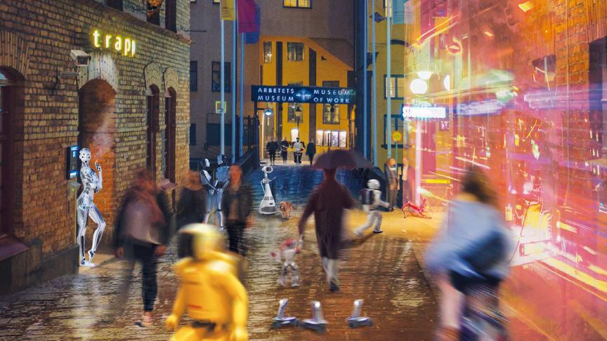 Den nya utställningen Hej robot! bjuder in till funderingar över framtidens samhälle. Illustration: Gullers Grupp.