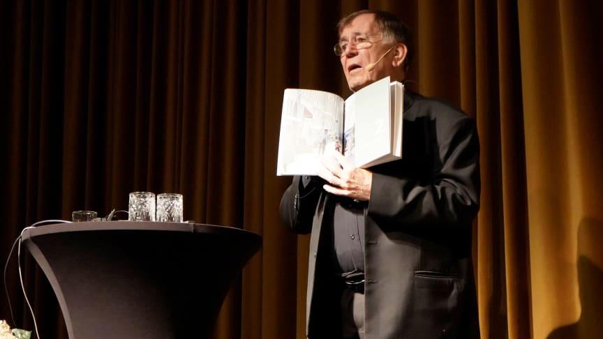 """Arkitekten Jan Gehl var på plats vid Bryggarsalen i Stockholm för att berätta om sin bok """"Städer för människor""""."""