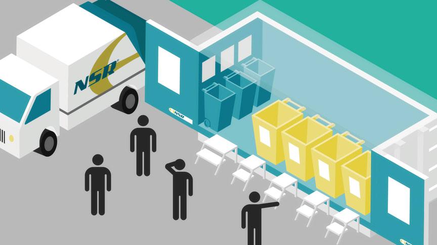Den mobila återvinningstjänsten består bland annat av sopbilar och specialinredda containrar som NSR kan ställa upp på olika platser.