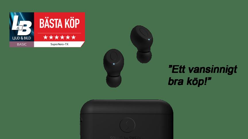 """SUPRA NERO-TX True Wireless fick utmärkelsen """"Bästa Köp"""" och betyget 6/6 av magasinet Ljud & Bild"""