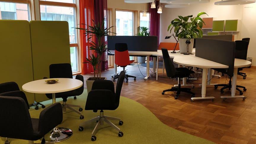 Det lilla kontorslandskapet (H)OUR OFFICE i Videum Science Park.