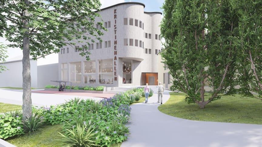 Så här ska Kristinehallen se ut när ombyggnationen är klar under 2022. Illustration: FALUGRUPPEN