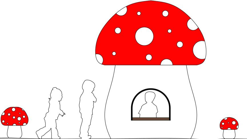 Sagotemat är genomgående på hela lekplatsen. Vad sägs om ett lekhus i form av en stor flugsvamp? Illustration: Charolina Klintberg, Halmstads kommun