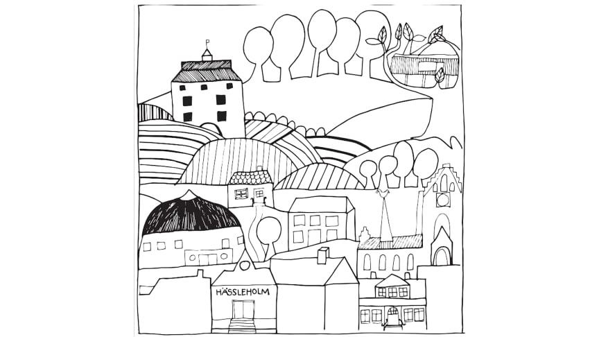 """I Nelly Nilsson Nybergs skiss blandas staden, landsbygden och naturen; """"En uppdiktad tecknad kartbild med landmärken från vår stad och dess omnejd"""". Skissen ska bearbetas och anpassas för att så småningom gjutas i brons."""