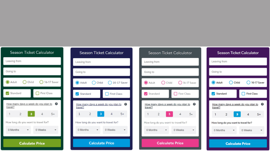 Calculators such as these are available on the train operators' websites (from left: Southern; Southeastern, Thameslink and Great Northern)