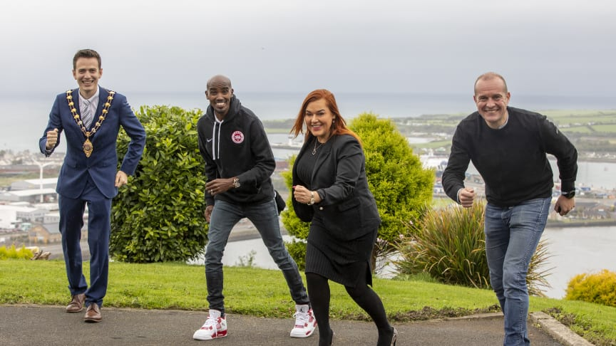 Mayor Cllr Peter Johnston, Sir Mo Farah, MEABC Chief Executive Anne Donaghy, and Antrim Coast Half Marathon race organiser James McIlroy, in Larne today
