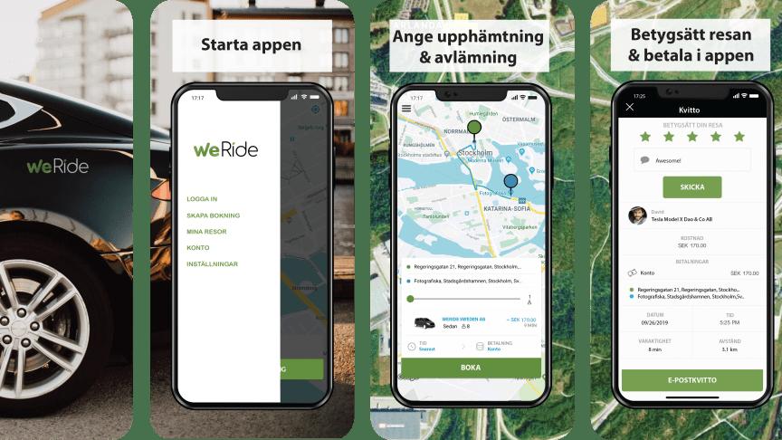 WeRide appen finns tillgänglig både på App Store och Google play