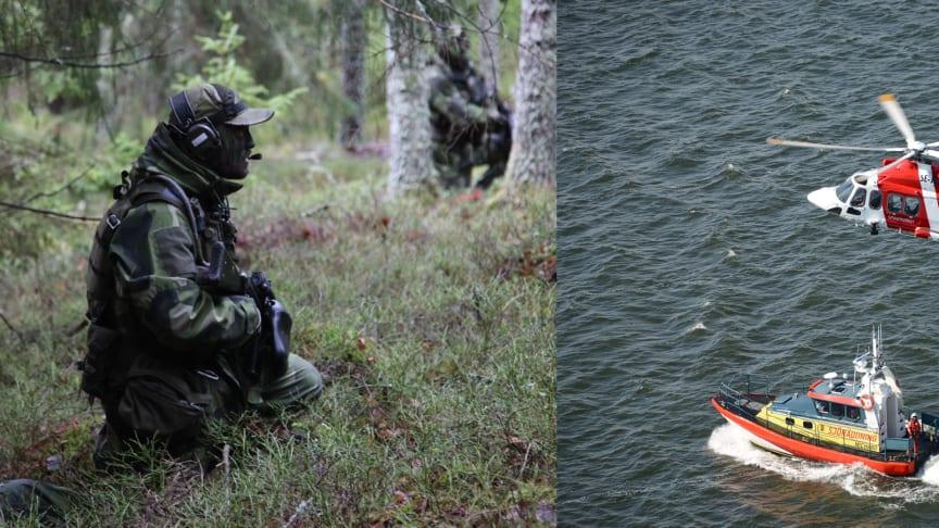 Foto: Roslagsbataljonen, Sjöfartsverkets SAR helikopter och Sjöräddningssällskapet