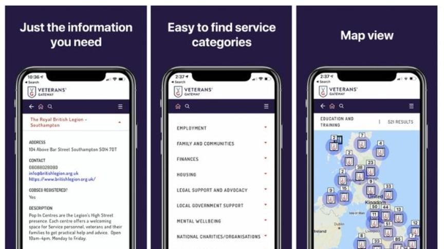 The new Veterans' Gateway App