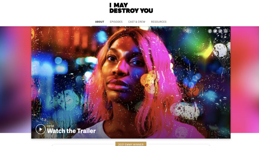 Screenshot of the HBO official website for Michaela Coel's I May Destroy You