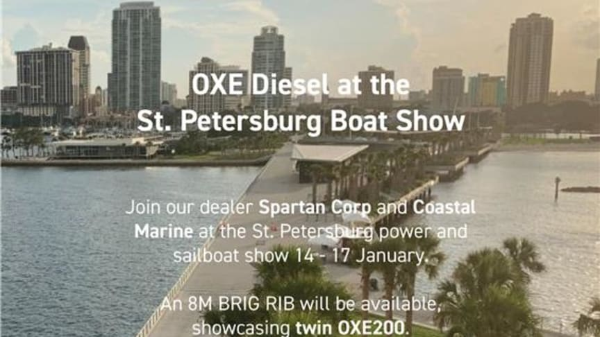 OXE Diesel displayed at the St. Petersburg Boat Show.