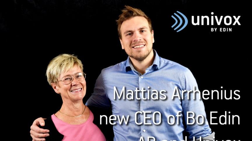 Mattias Arrhenius new CEO of Bo Edin AB and Univox