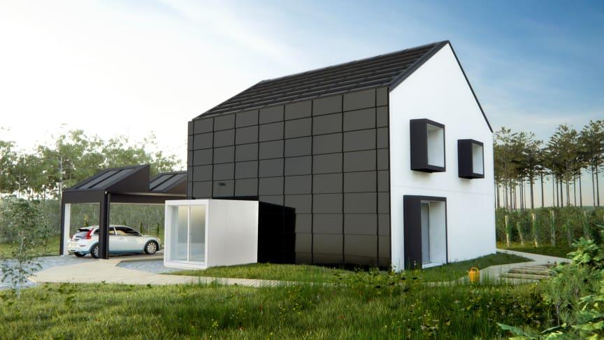 """Huvuddelarna i projektet """"One Tonne Life"""": Klimatsmart trähus, elbil och avancerade energilösningar"""