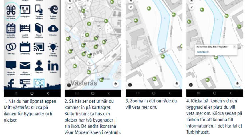 Så här hittar du Byggnader och platser i appen Mitt Västerås.