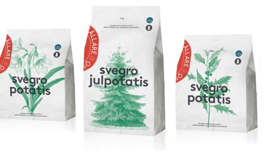 Amaryllis, julgran och järnek pryder Svegros säsongsförpackningar med potatis. Potatisen är 100 % svenskodlad.