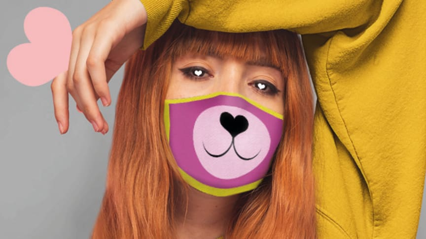 Maske mit rosa Bärenschnäutzchen entworfen von StrangeDesigns für Bärenherz