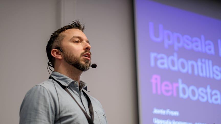 Jonte From föreläser om Uppsala kommuns radonarbete på förra årets radondag