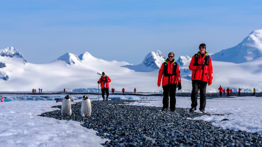 Hurtigruten Expeditions' guests in Antarctica. Photo: Dan Avila