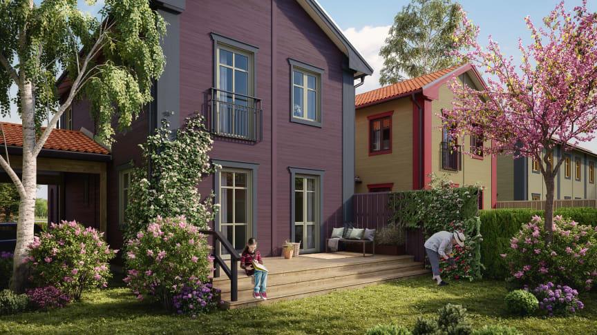 OBOS planerar för kedjehus, radhus och friliggande villor i Viksjö, Järfälla. Konceptbild Start Living.