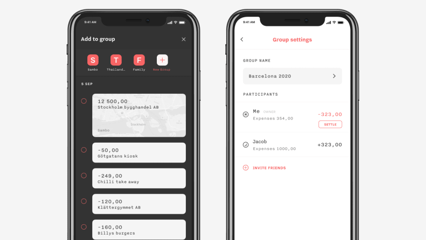 The new feature set Groups from P.F.C. allows users to create groups with friends and family and keep track of and settle shared expenses.