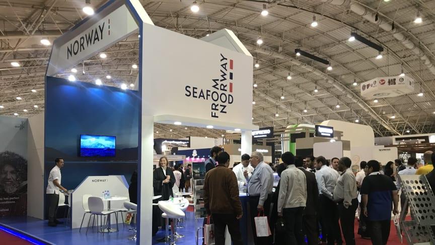 Interessen for norsk sjømat er stor i Saudi-Arabia. Den norske messestanden på Suadi-Horeca pleier å være godt besøkt.