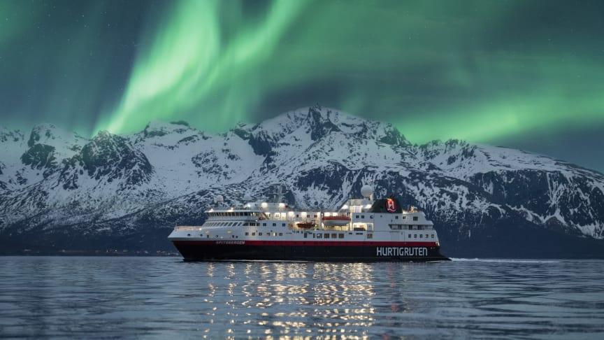 The Northern Lights in Norway with Hurtigruten. Photo: Hege Abrahamsen
