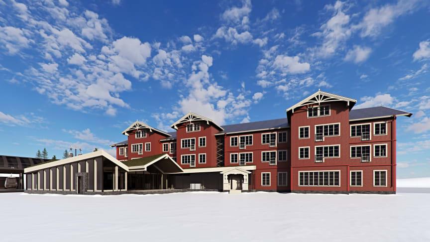 Der investeres både i den nye lufthavn i Sälen og i nye overnatningsmuligheder i området, f.eks. det nye lejlighedshotel i Kläppen, Hotell Kurbits, som er bygget i ægte Dalarna-stil. Foto: Kläppen