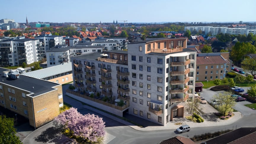 Här, på Tärnvägen i västra Lund, står 62 nybyggda lägenheter inflyttningsklara i slutet av året. Bild: Nordr