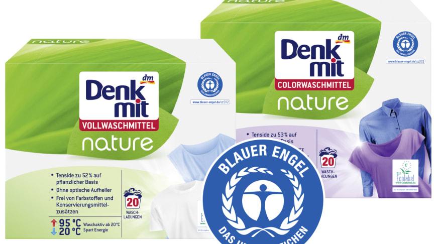 Die neuen Denkmit nature Waschmittel sind mit dem Umweltzeichen Blauer Engel** ausgezeichnet
