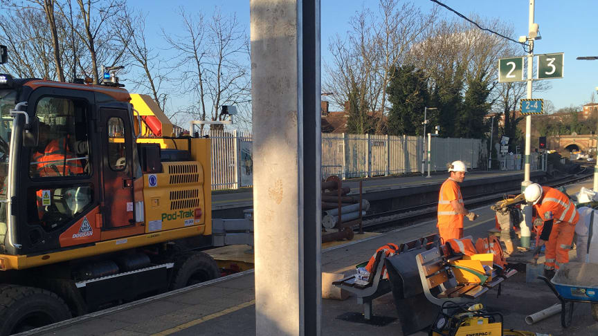 Going up: Tulse Hill's new 56-metre platform canopy will be supported by seven steel pillars