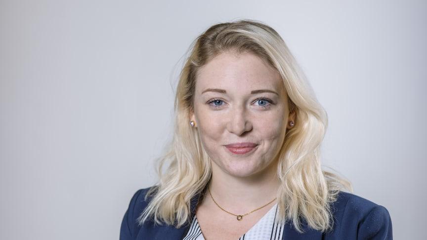 Sofie Björklund, doktorand på Kemiska institutionen och Företagsforskarskolan. Hennes externa part är Umeå Energi. Foto: Mattias Pettersson