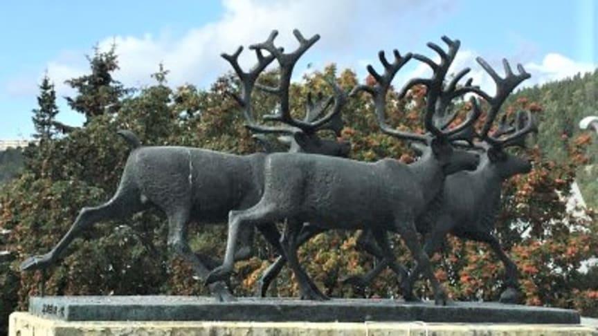 """""""Reinsdyr"""" av Skule Waksvik, fra 1968."""