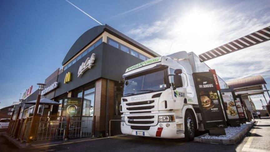 Frityrolja från McDonalds kan bli biobränsle. Foto: Scania