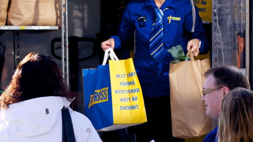 Under årets tre första månader ökade City Gross försäljning av matkassar med nästan dubbelt så mycket som marknaden för e-handel med mat.