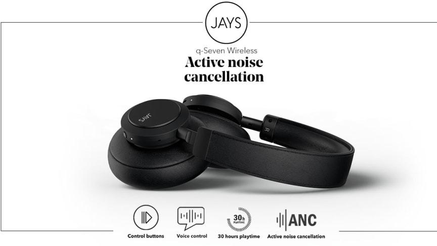"""Nya trådlösa hörlurar från JAYS, med ledande """"Active Noise Cancellation"""" teknik"""