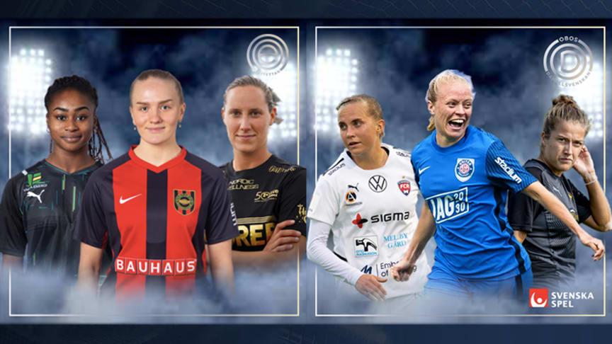 De kan bli Månadens Spelare i OBOS Damallsvenskan och Elitettan i augusti